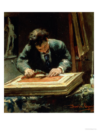 The Picture Framer, 1878 Premium Giclee Print by David Oyens
