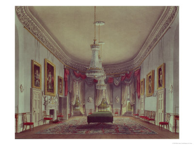 """The Dining Room, Frogmore from Pyne's """"Royal Residences,"""" 1818 Giclee Print by William Henry Pyne"""