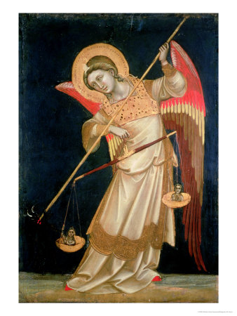 An Angel Weighing a Soul, circa 1348-55 Lámina giclée