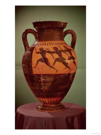 Greek Black-Figure Amphora Depicting Runners in a Race, 600-550 BC Giclee Print