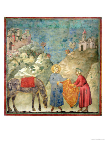 St. Francis Gives His Coat to a Stranger, 1296-97 Premium Giclee Print by  Giotto di Bondone