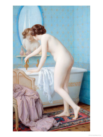 Young Woman Preparing Her Bath Premium Giclee Print by Jules Scalbert