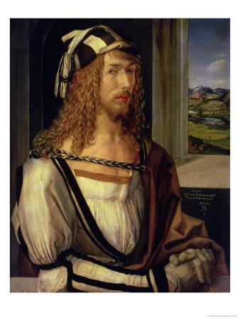 Self Portrait with Gloves, 1498 Premium Giclee Print by Albrecht Dürer