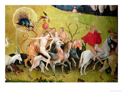 The Garden of Earthly Delights: Allegory of Luxury, Central Panel of Triptych Premium Giclee Print by Hieronymus Bosch