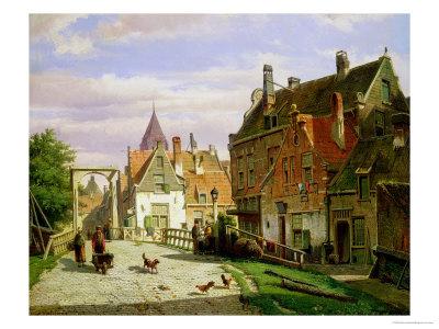 Man with a Wheelbarrow Premium Giclee Print by Willem Koekkoek