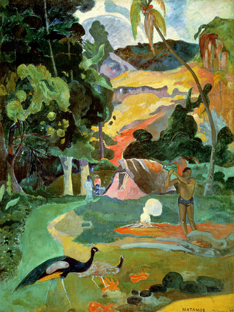 Matamoe Or, Landscape with Peacocks, 1892 Premium Giclee Print by Paul Gauguin