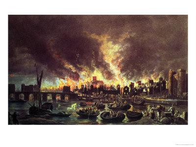 The Great Fire of London, 1666 Premium Giclee Print by Lieve Verschuier