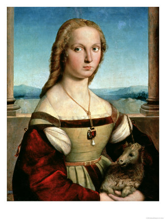 Portrait of a Young Woman with a Unicorn, circa 1505-6 Giclee Print