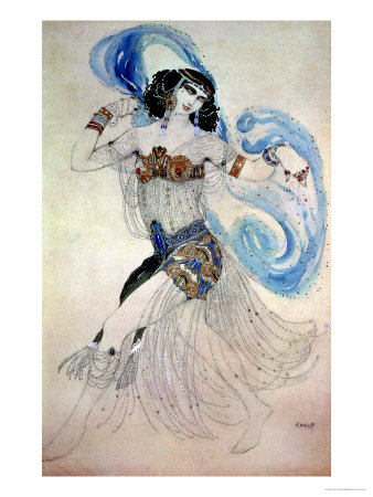 "Costume Design for Salome in ""Dance of the Seven Veils,"" 1908 Premium Giclee Print by Leon Bakst"