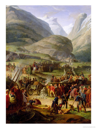The French Army Travelling over the St. Bernard Pass at Bourg St. Pierre, 20th May 1800, 1806 Premium Giclee Print by Charles Thevenin