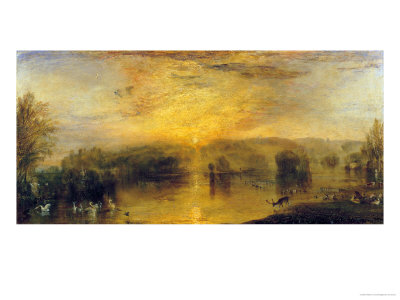 The Lake, Petworth: Sunset, a Stag Drinking, circa 1829 Giclee Print by J. M. W. Turner