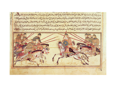 Battle Between Mongol Tribes, 13th Century (Manuscript) Giclee ...