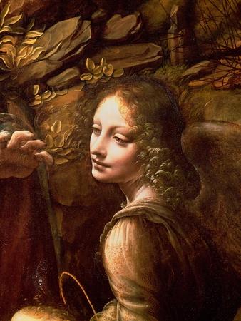 The Virgin of the Rocks (The Virgin with the Infant St. John Adoring the Infant Christ) Giclée-tryk af Leonardo da Vinci,