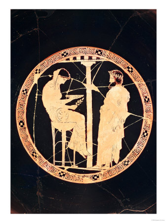 Athenian Red-Figure Kylix Depicting Aegeus, King of Athens, Consulting the Delphic Oracle (Pottery) Premium Giclee Print