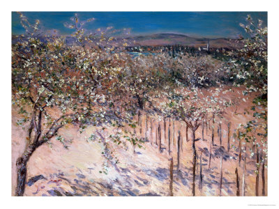 Orchard with Flowering Apple Trees, Colombes Premium Giclee Print by Gustave Caillebotte