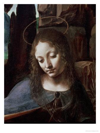 The Virgin of the Rocks (The Virgin with the Infant Saint John Adoring the Infant Christ ) Premium Giclee Print by  Leonardo da Vinci