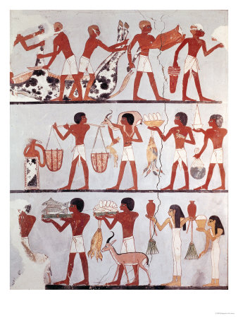 Scene of Butchers and Servants Bringing Offerings, from the Tomb of Onsou, circa 1375 BC Premium Giclee Print