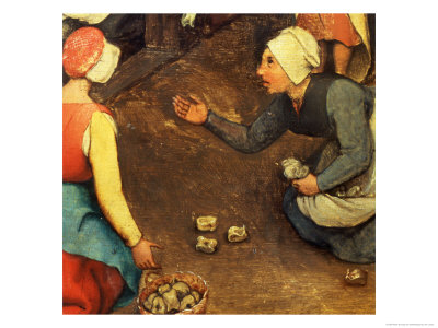 Children's Games (Kinderspiele): Detail of a Game Throwing Knuckle Bones, 1560 Lámina giclée