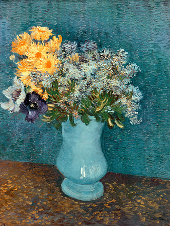 Vase of Lilacs, Daisies and Anemones, c.1887 Premium Giclee Print by Vincent van Gogh