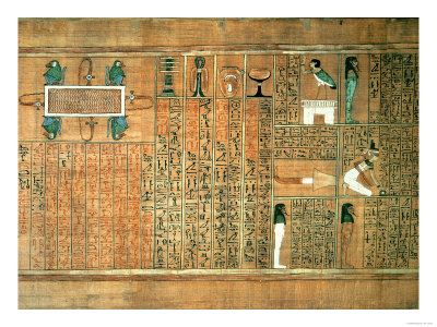 Detail Depicting the Deceased and His Ba, circa 1250 (Painted Papyrus) Giclee Print