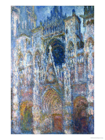 Rouen Cathedral, Blue Harmony, Morning Sunlight, 1894 Premium Giclee Print by Claude Monet