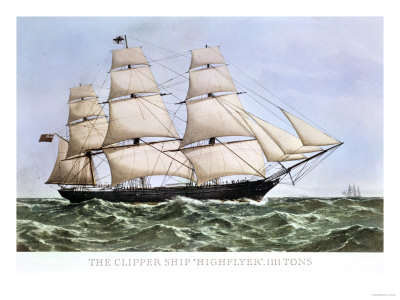 "The Clipper Ship ""Highflyer,"" 1111 Tons Premium Giclee Print"