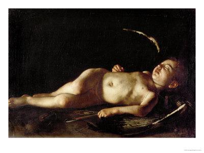 Sleeping Cupid, 1608 Premium Giclee Print by  Caravaggio