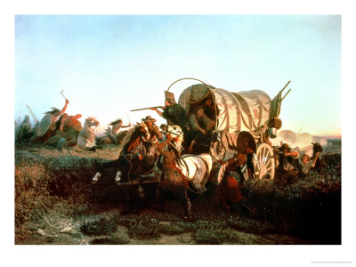 The Attack on the Emigrant Train, 1856 Premium Giclee Print by Charles Ferdinand Wimar