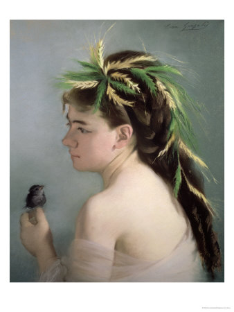 Portrait of a Girl Holding a Sparrow Premium Giclee Print by Eva Gonzales