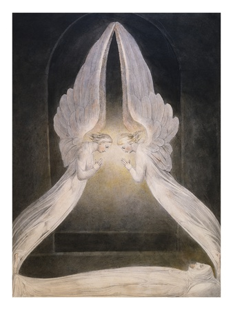 The Angels Hovering Over the Body of Jesus in the Sepulchre Premium Giclee Print by William Blake