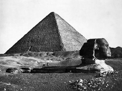 The Sphinx and the Pyramid of Cheops Standing in the Desert Photographic Print