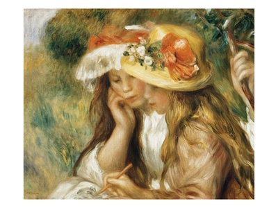 Two Girls Drawing Premium Giclee Print by Pierre-Auguste Renoir