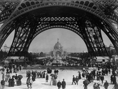 Visitors Strolling Around the Eiffel Tower Photographic Print