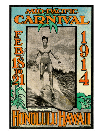 Mid Pacific Carnival 1914, Honolulu, Hawaii, Featuring Duke Kahanamoku Giclee Print