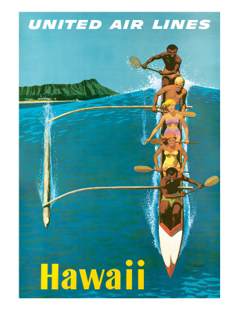 United Air Lines, Hawaii, Outrigger Canoe Giclee Print by Stan Galli