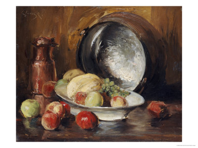 Still Life with Fruit and Copper Pot Premium Giclee Print by William Merritt Chase