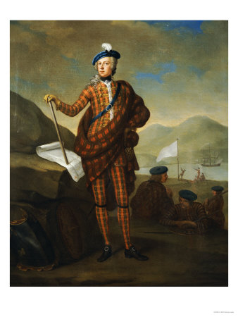 Harlequin Portrait of Prince Charles Edward Stewart (1720-1788), in Red Tartan Coat, Breeches Premium Giclee Print by E. Gill