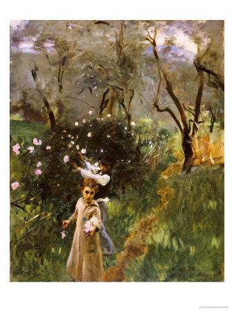 Gathering Flowers at Twilight Premium Giclee Print by John Singer Sargent