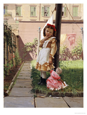 Young Girl in a New York Garden, 1871 Premium Giclee Print by John George Brown