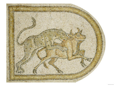 Byzantine Marble Mosaic Panel Depicting a Leopard Attacking a Bull, circa 5th-6th Century AD Giclee Print
