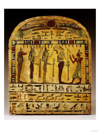 An Egyptian Painted Wood Stela Dynasty, circa 712-525 BC Premium Giclee Print