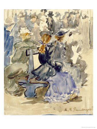 Ladies Seated on a Bench Premium Giclee Print by Maurice Brazil Prendergast
