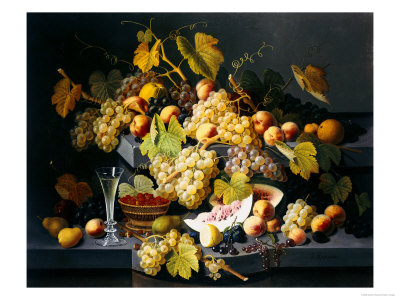 Still Life with Fruit and a Glass of Champagne Giclée-Druck von Severin Roesen