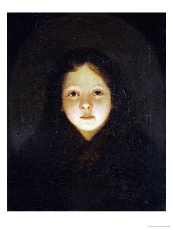 A Girl, Head and Shoulders Premium Giclee Print by Petrus Van Schendel