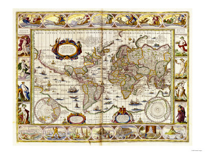 Hand Colored Engraved World Map, 1649 Reproduction d'art