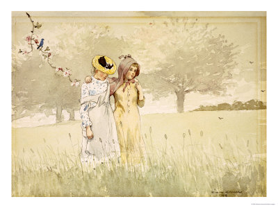 Girls Strolling in an Orchard, 1879 Premium Giclee Print by Winslow Homer
