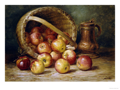 A Basket of Apples Premium Giclee Print by August Laux