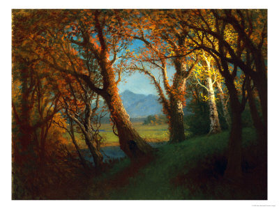 Sunset in the Nebraska Territory Premium Giclee Print by Albert Bierstadt
