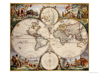 Map of the World, circa 1680 Reproduction d'art