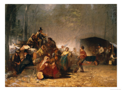 The Party in the Maple Sugar Camp, circa 1861-66 Premium Giclee Print by Eastman Johnson